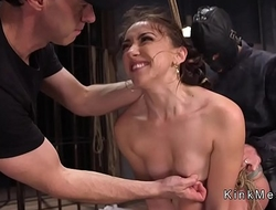 Brunette gets anal sex and electro shock