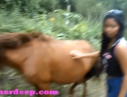 HD Heather Deep 4 wheeling on scary fast quad and Peeing next to horses in the jungle