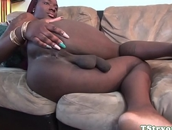 Ebony transsexual wanking off at audition