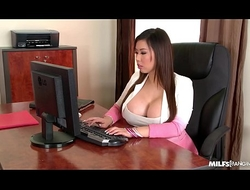 Milfs Tigerr Benson &_ Emma Fundament Hardcore Fucked Wide of Big Cock Aloft Office Table
