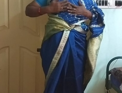 des indian horny cheating tamil telugu kannada malayalam hindi wife vanitha wearing blue colour saree  showing big boobs added to shaved muff press hard boobs press gnaw rubbing muff masturbation