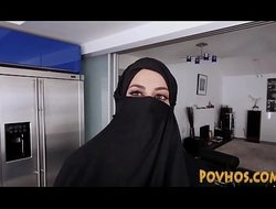 Muslim busty slut pov engulfing and riding cock in burka