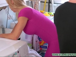 Sexy Blonde MILF Step Mom Alexis Fawx Drilled To Clamber By Step Son In Laundry Room