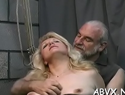 Bizarre thraldom video with cutie obeying be passed on dirty play
