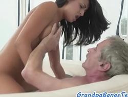 Teen beauty sucks grandpas dick