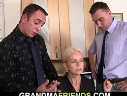 Age-old underfed blonde granny replica penetration