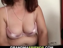 Age-old granny loses strip poker and fucked