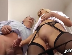 Lustful sweetheart gives this superannuated pauper a blowjob of a lifetime