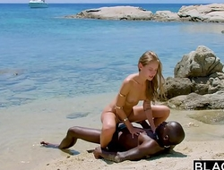 BLACKED Strong black man copulates blonde tourist on the littoral
