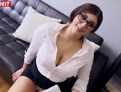 Innocent Teen Secretary Spanks Her Big Tits Thither Huge Cock