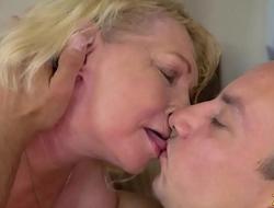 Horny blonde granny enjoys hard cock give the brush vagina