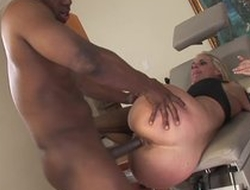 Hot blonde mummy in wild hardcore sex after licking balls be proper of ebony black male
