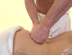 Greased blonde babe copulates masseurs cock