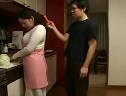 Japanese Stepmom and Lady give Kitchen Fun