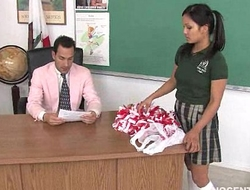 Cute oriental cheerleader screwed coupled with facialized hard by make an issue of teacher sacristan