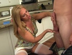 Blonde housewife in ashen nylons takes young pecker as unfathomable cavity as that babe in the final