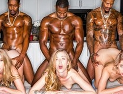 Three awesome blonde ladies mending muscled black guys