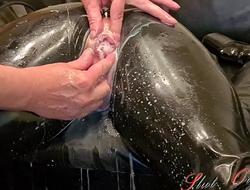 Slave Slut-Orgasma Celeste in the air Latex unconvincing holes, enema
