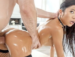 LUBED Elusive Tight Asian Off with Gets Drilled