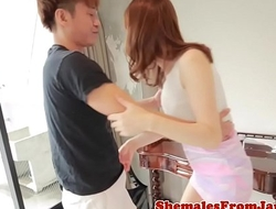 Inviting ladyboy screwed after tittyfucking