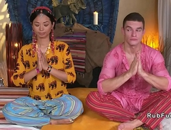 Oriental yoga teacher defied coupled everywhere drilled