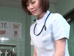 Subtitled CFNM Japanese female doctor gives at all events handjob