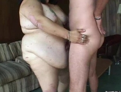 Triumvirate nearby Granny together with BBW