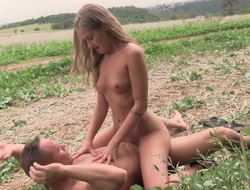Fragrant blonde mollycoddle gets nicely fucked in a catch field